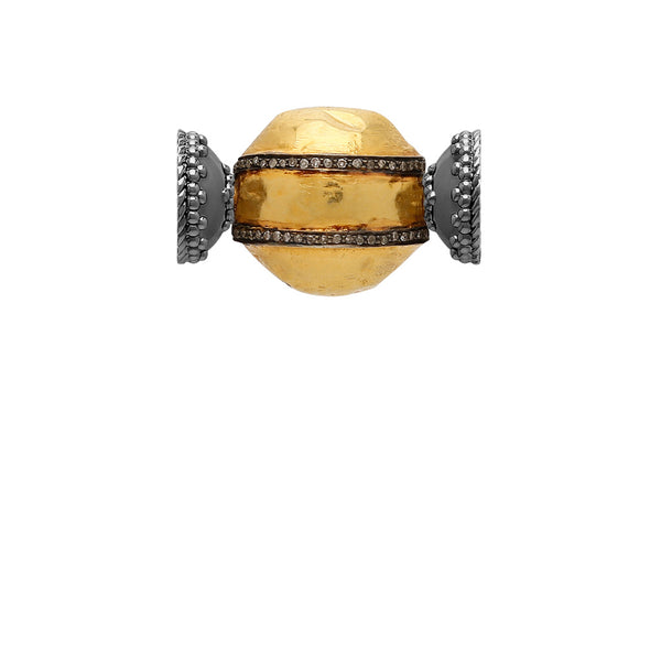 18k Gold and Diamond Centerpiece with Signature Gunmetal Magnetic Clasp