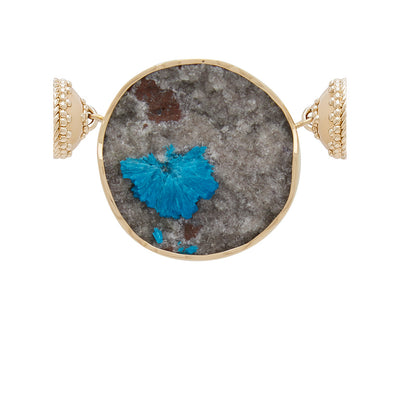 18K Cavansite Druzy Centerpiece