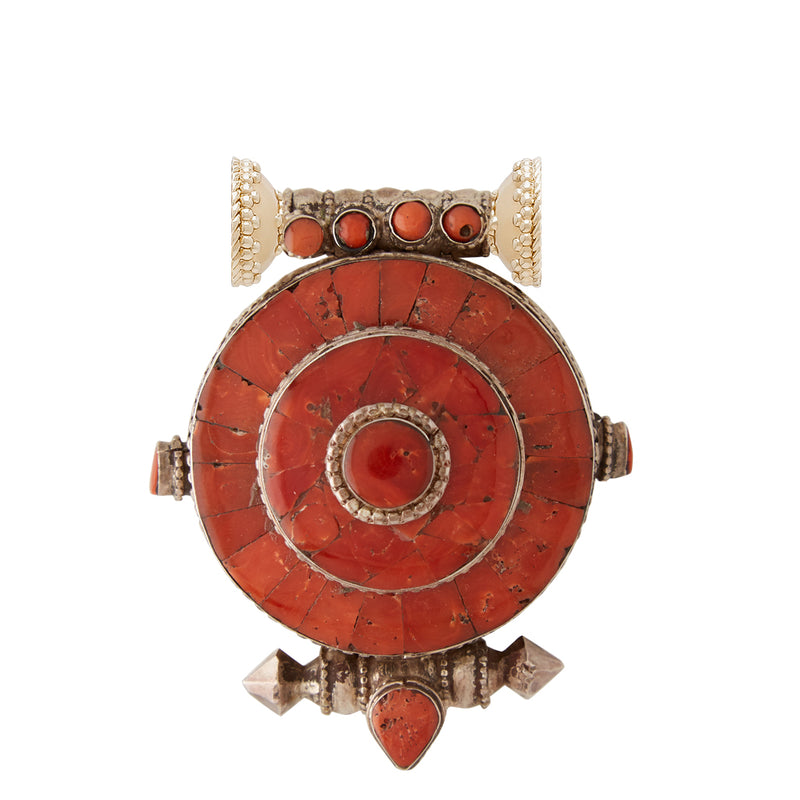 Tibetan Treasures Coral & Sterling Silver Medallion Centerpiece