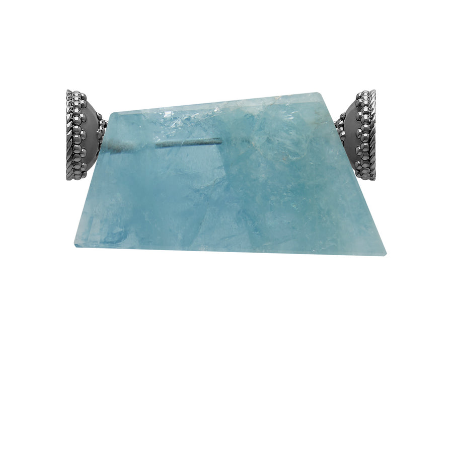 Aquamarine Rough Slice Gunmetal Centerpiece