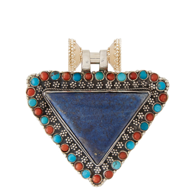 Tibetian Treasure Lapis Triangle Centerpiece