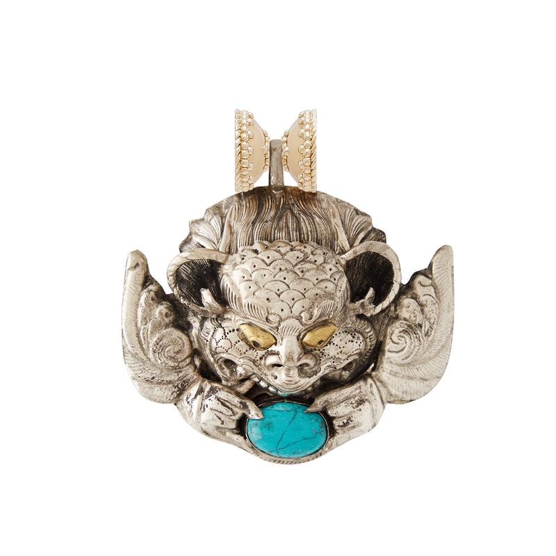 Tibetan Treasure Dragon Turquoise Centerpiece