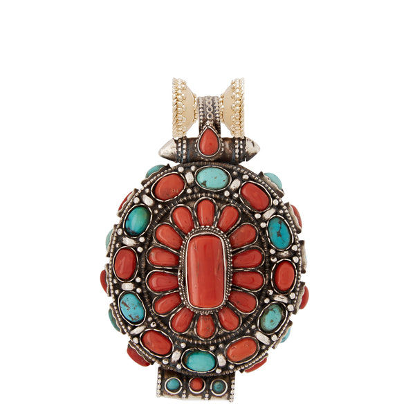 Tibetan Treasure Turquoise and Coral Oval Centerpiece