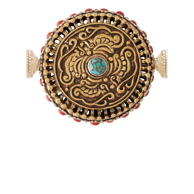 Tibetan Treasure  Coral and Turquoise Medallion Centerpiece