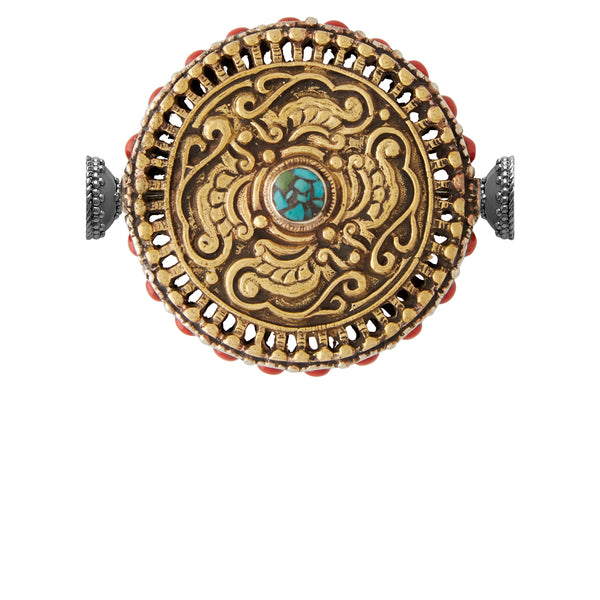 Tibetan Treasure  Coral and Turquoise Medallion Gunmetal Centerpiece