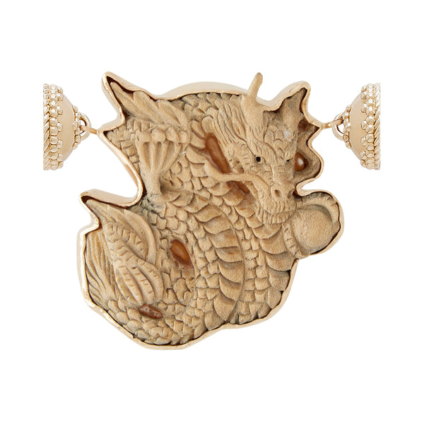 Wood Carved Dragon Centerpiece