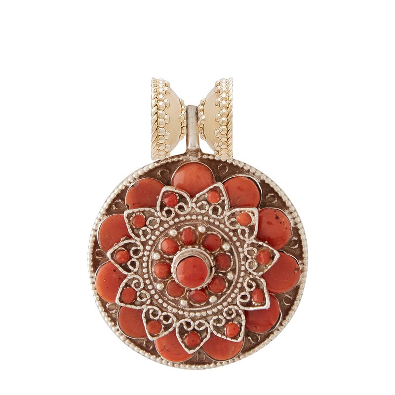Tibetan Treasure Floral Medallion Centerpiece