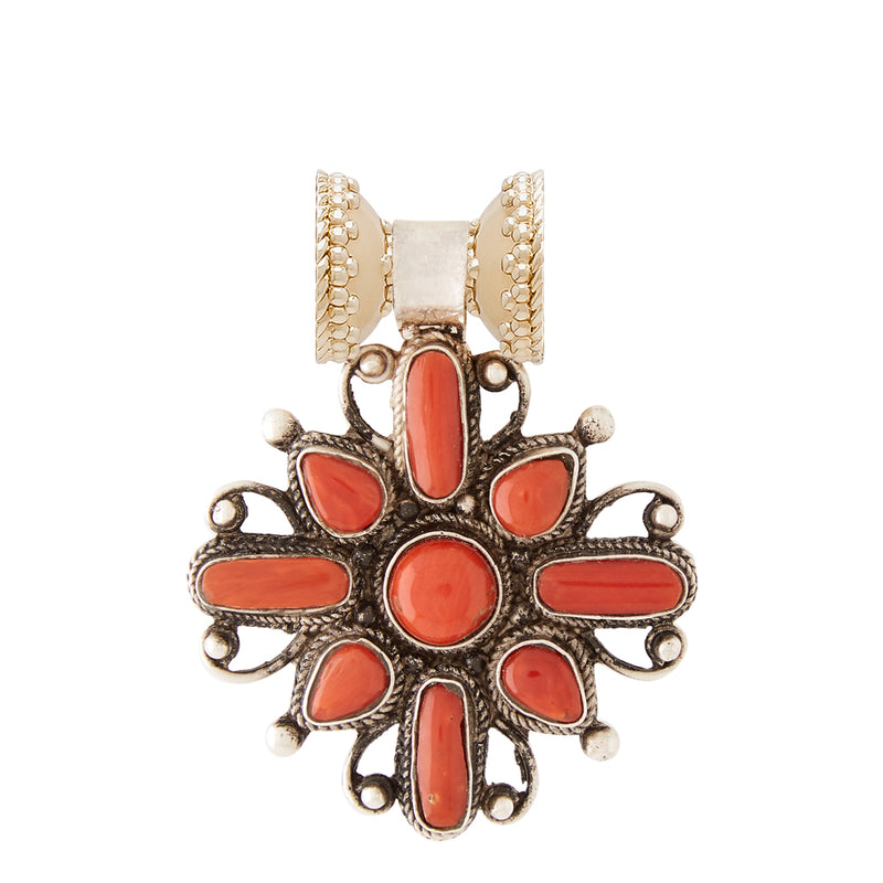 Tibetan Treasure Coral Filgree Cross Centerpiece