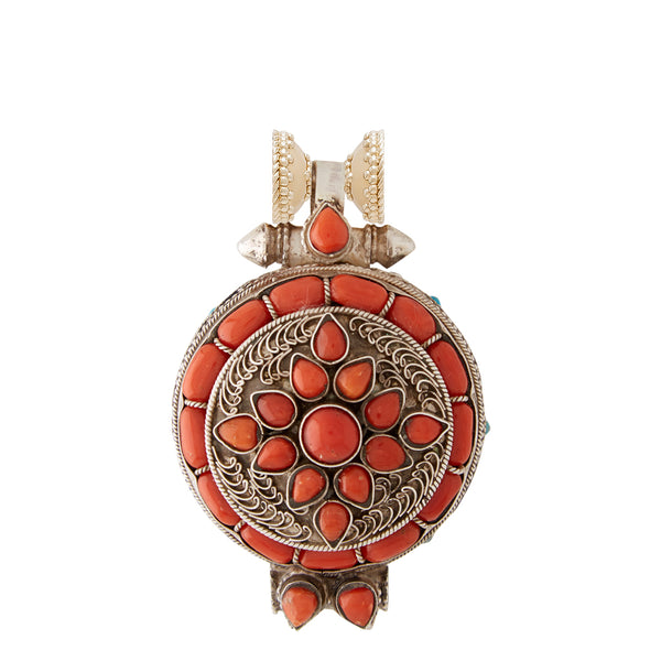 Tibetan Treasure Red Coral Filigree Centerpiece