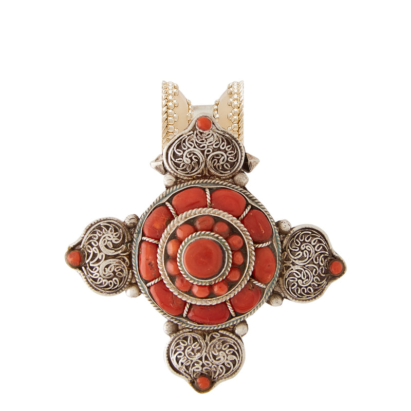 Tibetan Treasure Filgree Cross Centerpiece