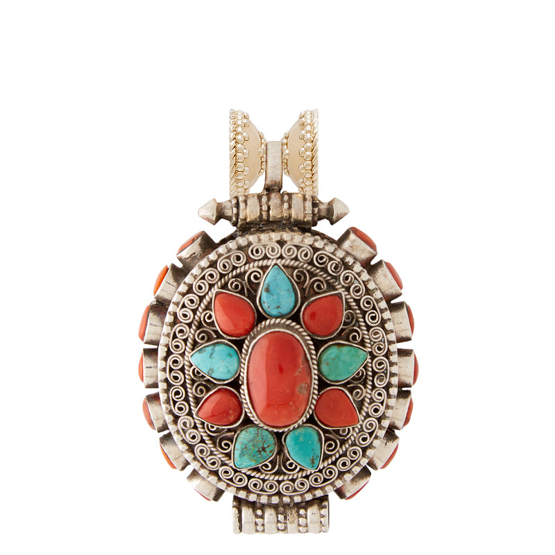 Tibetan Treasure Turquoise and Coral Oval Medallion Centerpiece