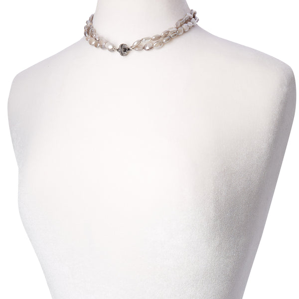 Nancy Mauve Coated Moonstone Double Strand Gunmetal Necklace