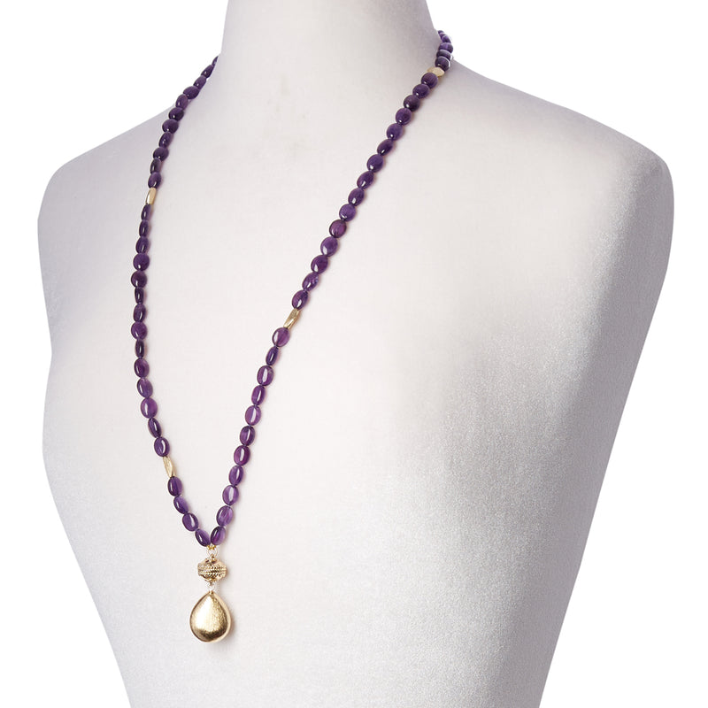 Gold Rush Amethyst Double Strand Necklace