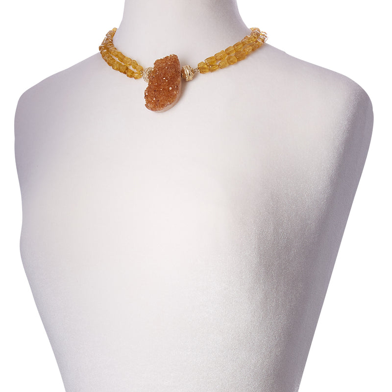 Nancy Yellow Beryl Rough Double Strand Necklace