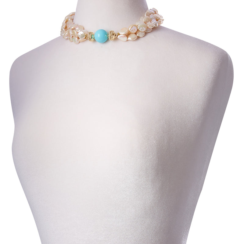 Coin Pearl Multi Strand Necklace