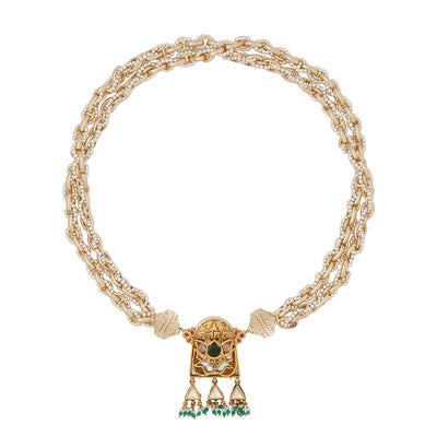 22K Kundan Centerpiece with Freshwater Pearls
