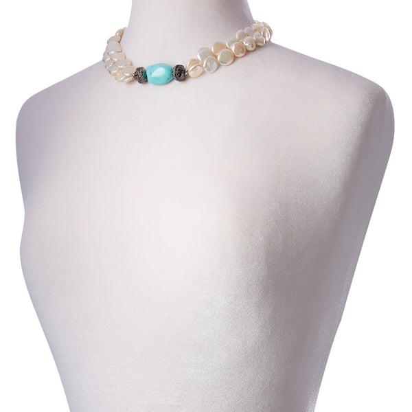 White Coin Pearl Double Strand Gunmetal Necklace