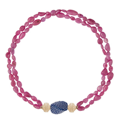 18k Hot Pink Tumbled Ruby Necklace with Signature Magnetic Clasp