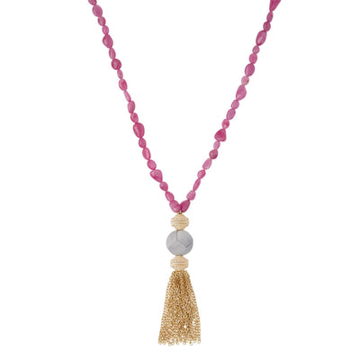 18k Hot Pink Tumbled Ruby Necklace with Gold Belden Tassel attached