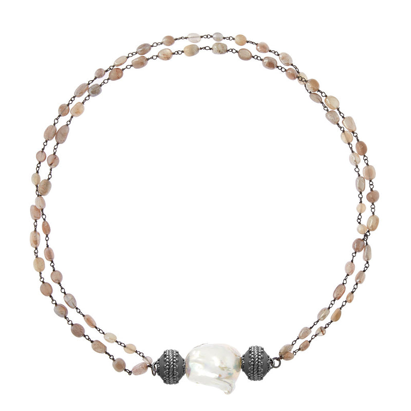 Tumbled Moonstone & Chain Gunmetal Necklace
