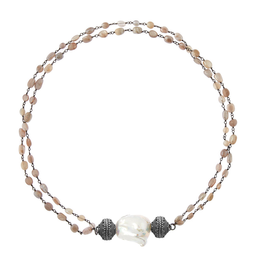 Tumbled Moonstone & Chain Necklace