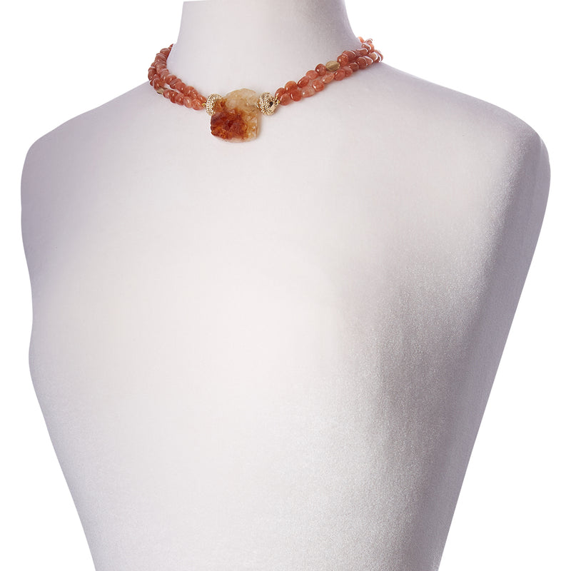 Gold Rush Sunstone Double Strand Necklace