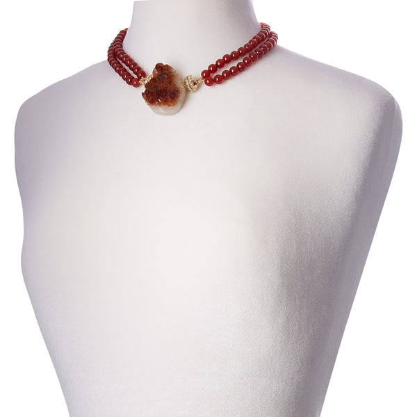 Victoire Red Agate 8mm Double-Strand Necklace
