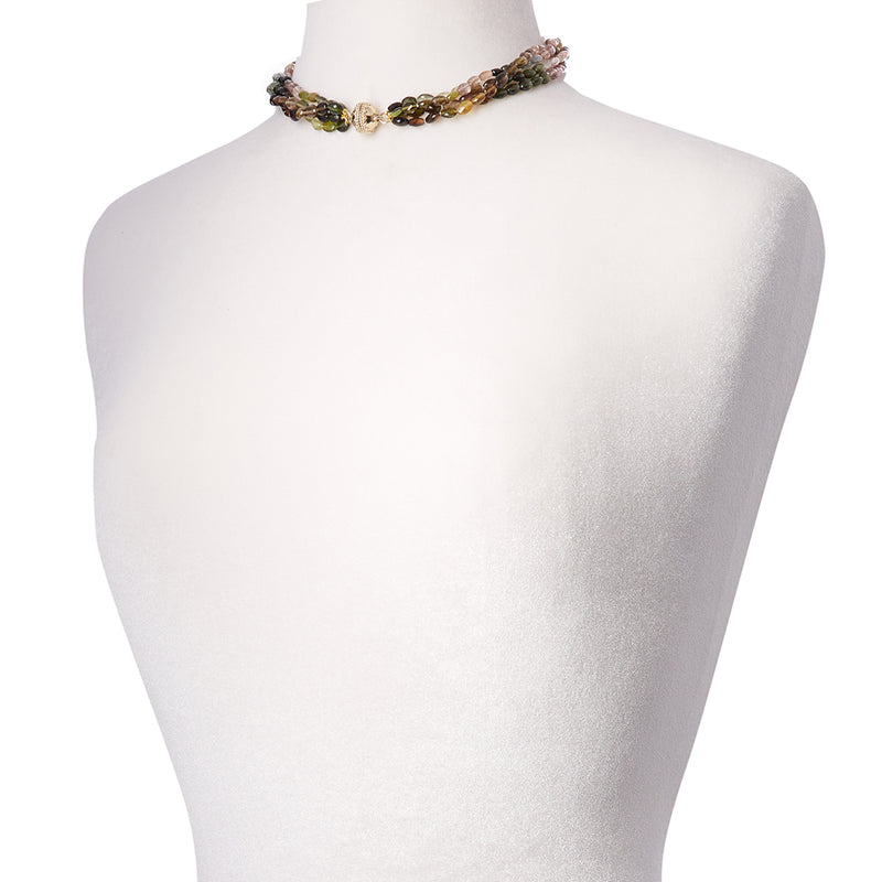 Nancy Watermelon Tourmaline 4 Strand Necklace