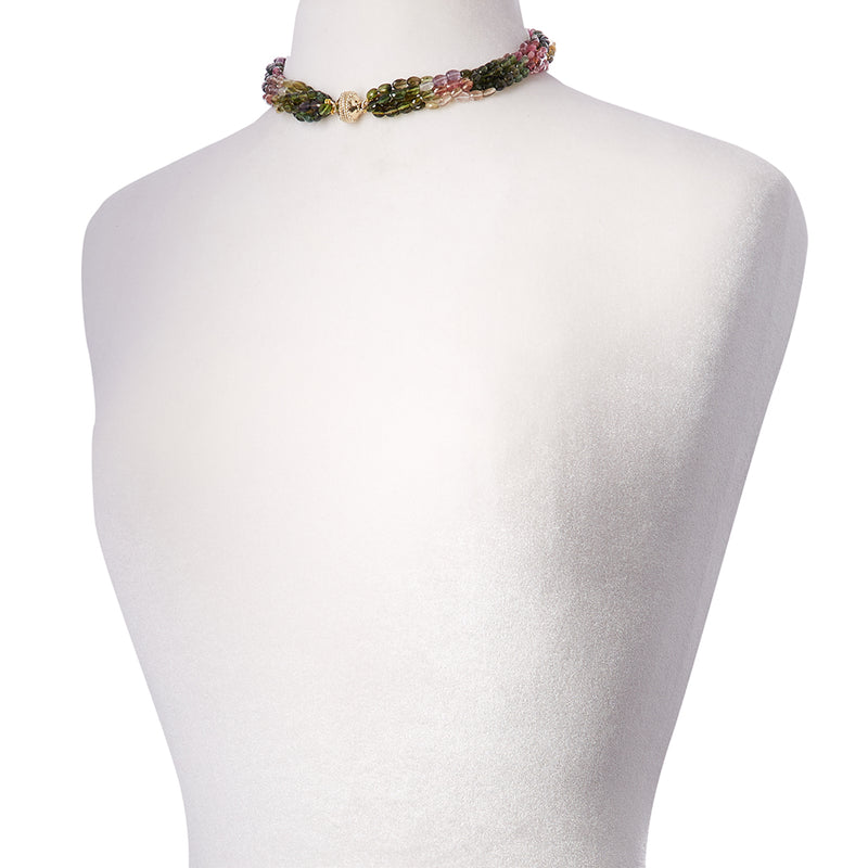 Nancy Watermelon Tourmaline Multi Strand Necklace