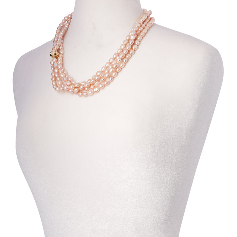Irregular Pink Pearl Opera Necklace