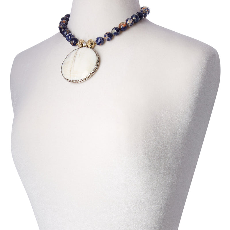 Victoire Orange and Blue Sodalite 14mm Necklace