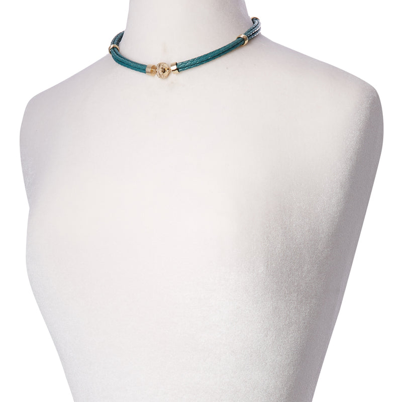 Aspen Braided Leather Teal Necklace