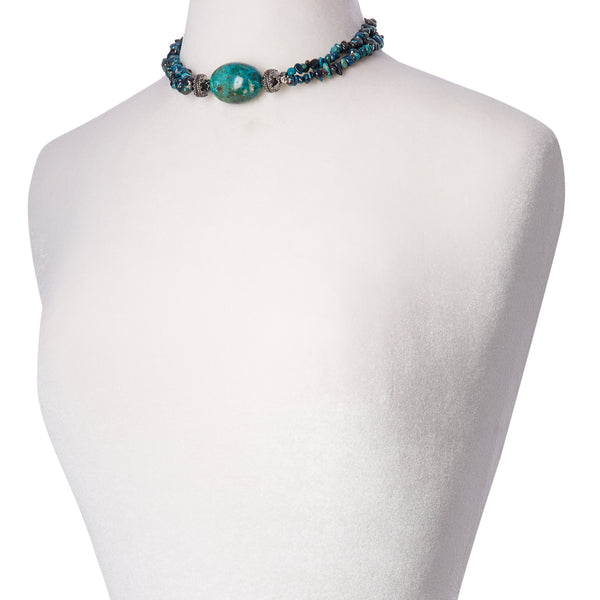 Chrysocolla Chip Double Strand Necklace