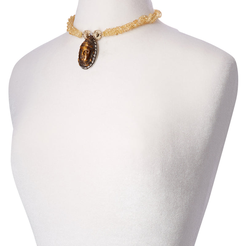 Citrine Rondell Multi Strand Necklace