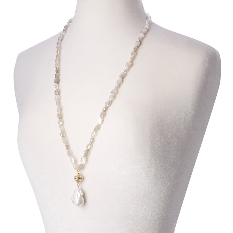 Nancy Cloud Coated Moonstone Double Strand Necklace