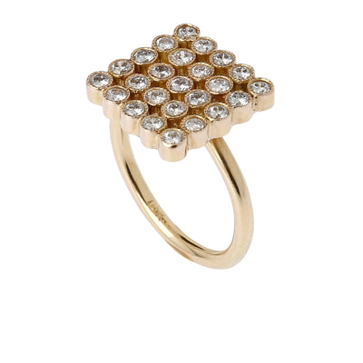 18k Gold Marquee Ring with Diamonds set in 14k Gold