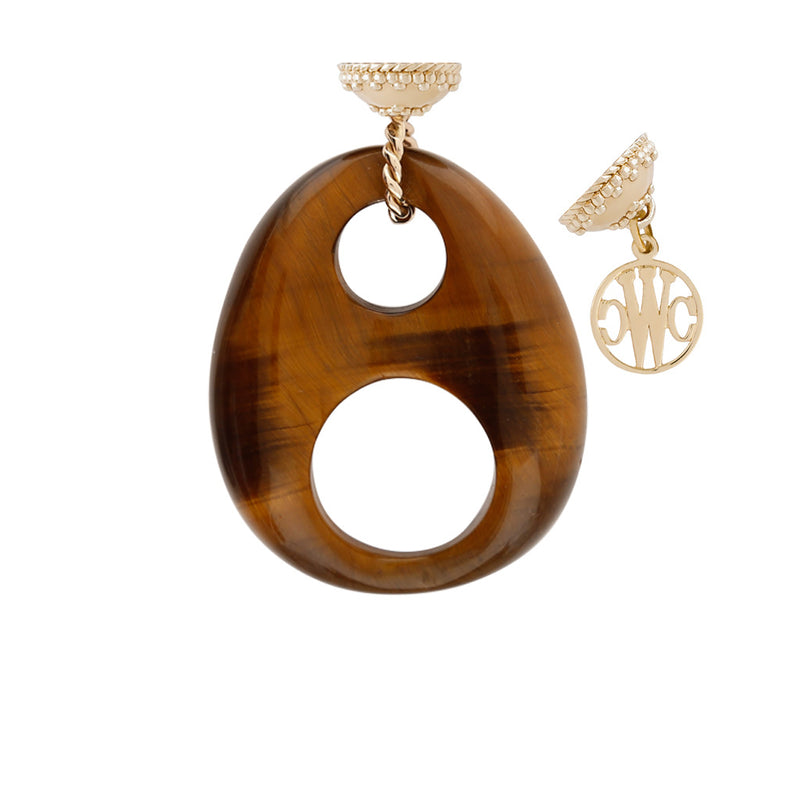 Tiger's Eye Double Circle Carved Tag