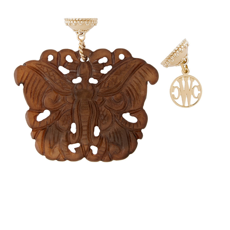Carved Jade Butterfly Tag