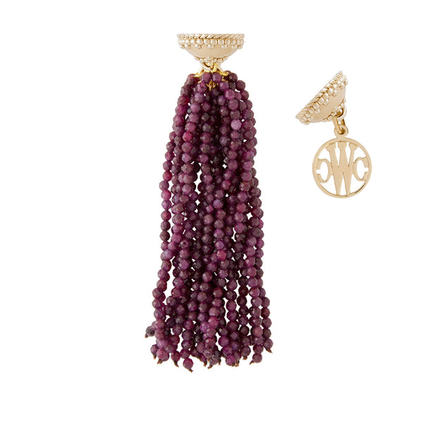 Michel Ruby Faceted Rhondelle Tassel