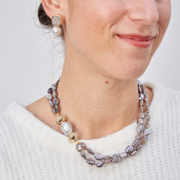 Nancy Mauve Coated Moonstone Double Strand Necklace