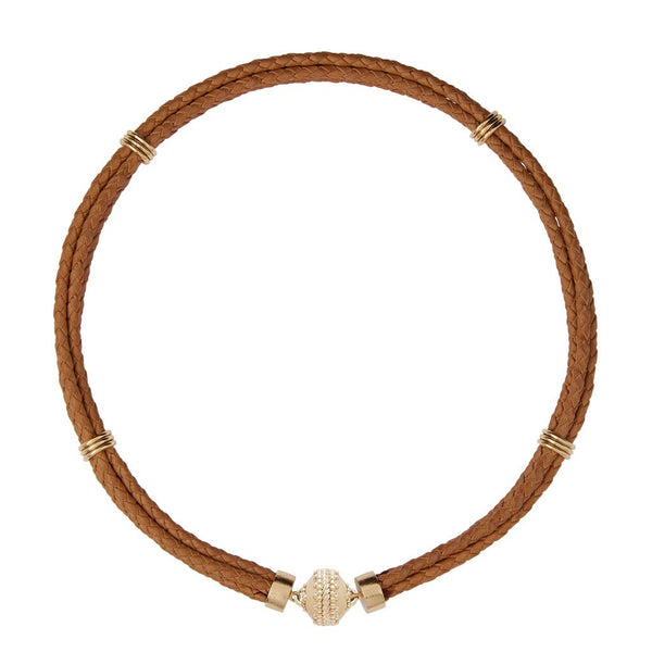 Aspen Braided Leather Tan Necklace