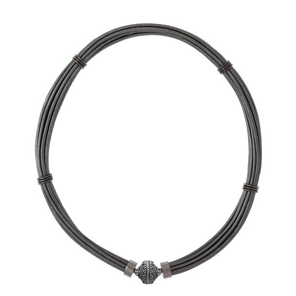 Aspen Leather Pewter Gunmetal Necklace