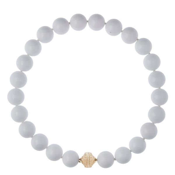 Victoire White Agate 16mm Necklace