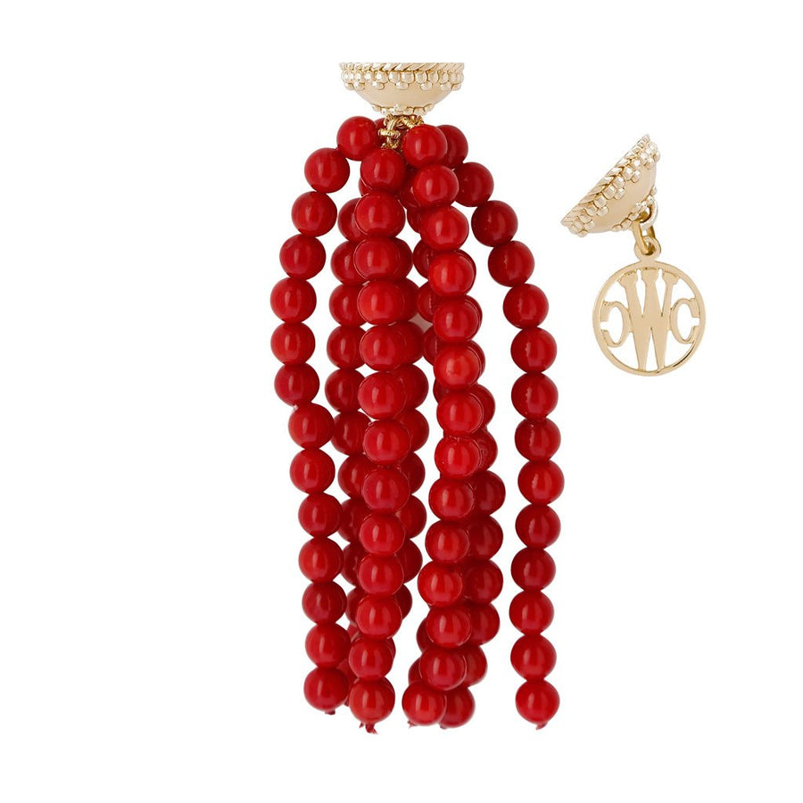 Victoire Reconstituted Red Coral 6mm Tassel