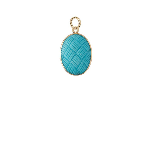 Carved Turquoise Cabochon Charm