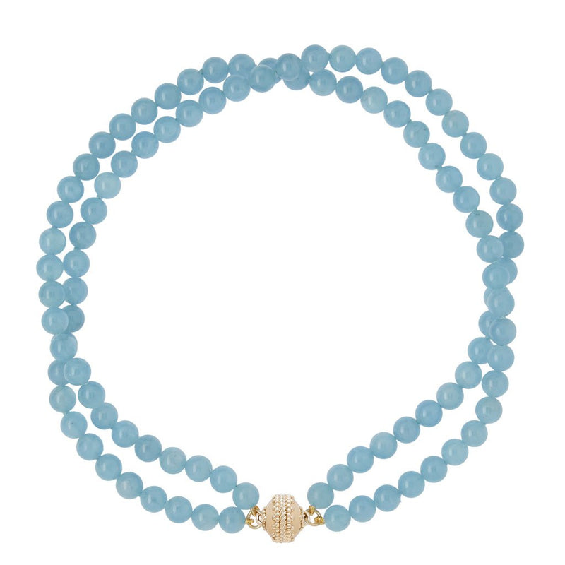 Victoire Aquamarine 8mm Double Strand Necklace