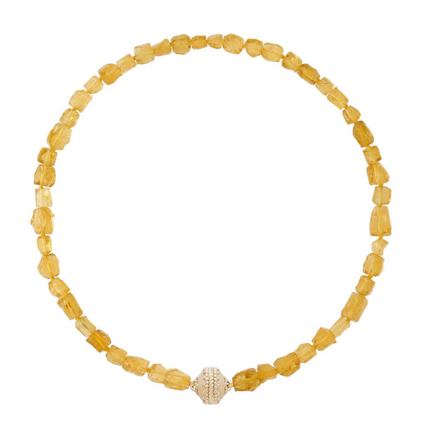Nancy Yellow Beryl Rough Necklace