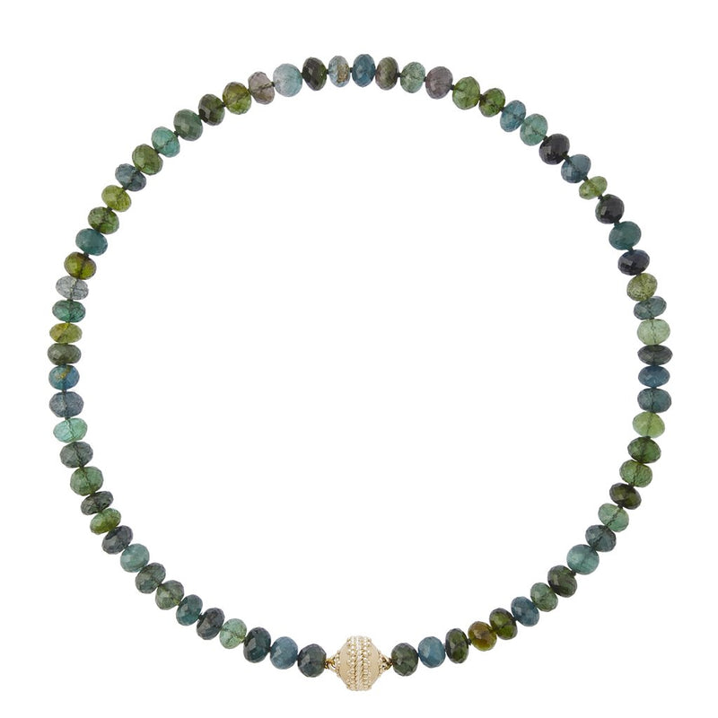 Blue Green Tourmaline Faceted Rhondelle Necklace