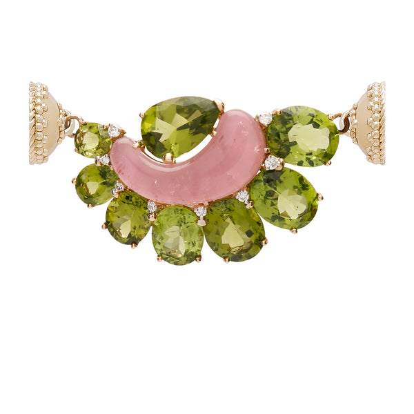 18k Peridot Diamond Pink Tourmaline Centerpiece with Signature Gold Magnetic Clasp