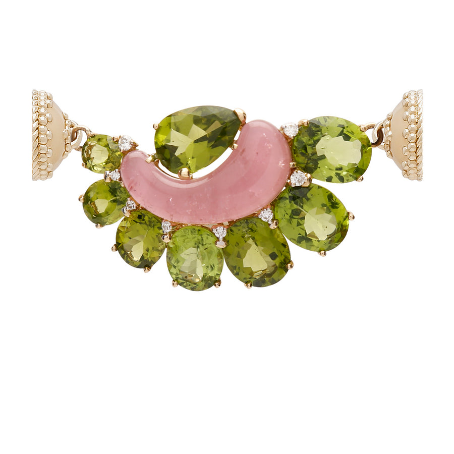 18K Peridot, Diamond, & Pink Tourmaline Centerpiece